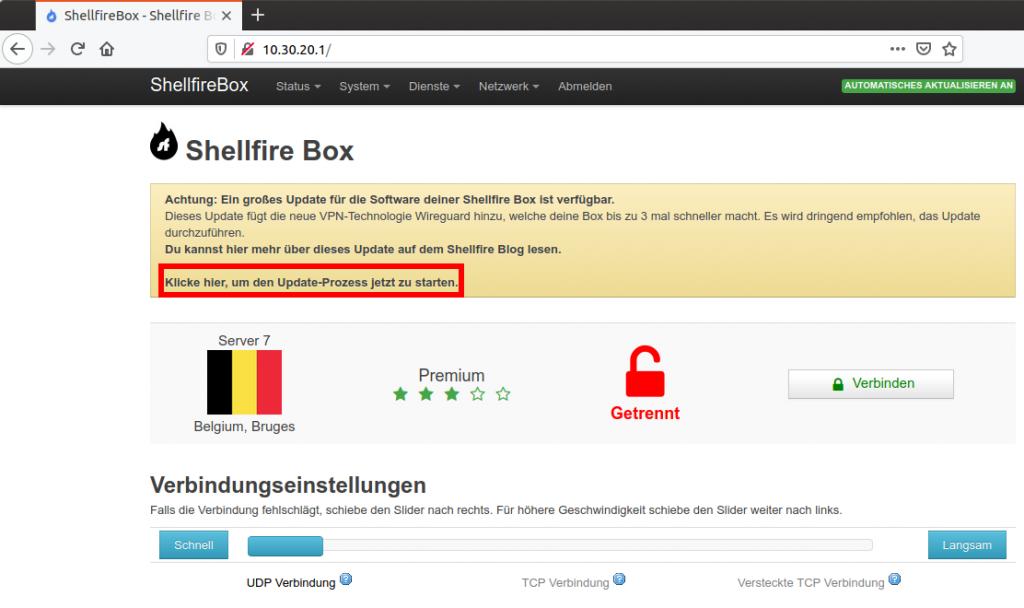 Shellfire Box Updatemeldung