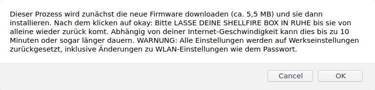 Shellfire Box Update Warnung