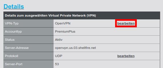 VPN Typ ändern